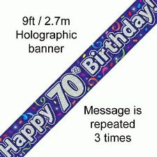 Happy 70th Birthday Streamers Holographic 9ft Banner