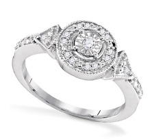Diamond Cluster Ring .925 Sterling Silver Illusion-Set Round diamond Band .12ct