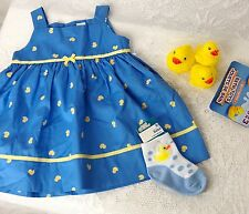 New Baby Girl 6 Mo Blue Dress Cute Yellow Ducks Duck Socks/Bath Toys Carters