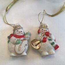 Lenox Snowman Ornaments pair playing instruments
