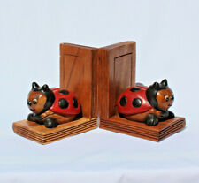 Wooden Lady Beetle Pair Bookends handcarved in Thailand Fair Trade