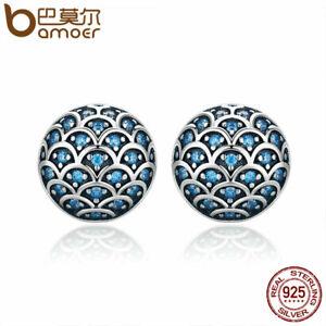 BAMOER S925 Sterling silver Women Stud Earrings Marine romance & Blue CZ Jewelry