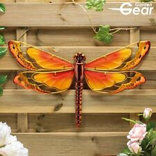 Garden Gear Large Metal & Glass Hanging Dragonfly Indoor & Outdoor Wall Art NEW