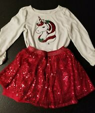 Childrens Place 5/6 Girls Christmas Outfit  Skirt Unicorn Sequin Red small