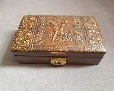 More details for antique leather bound cigarette tobacco cigar box w/ satin interior super rare?