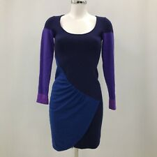 Karen Millen Dress Womens Size UK 6 Blue Purple Wool Blend Casual Winter 283690