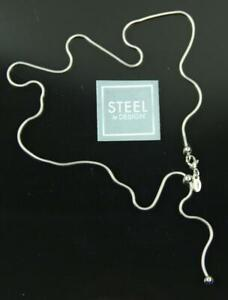 New STEEL BY DESIGN Silver Bolo Adjustable Y Snake Chain Necklace QVC