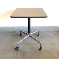 Mid Century Modern Eames Herman Miller Square Rolling Side Table Universal Base