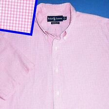L RALPH LAUREN PINK WHITE GINGHAM CHECK SHORT SLEEVE CLASSIC FIT WHITE MEN SHIRT
