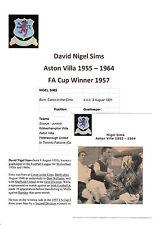 Nigel sims Aston Villa 1955-1964 original main signé Journal découpe