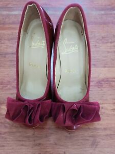 Original Christian Louboutin Patent Cherry Red Shoes Size 35