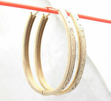 Technibond Reversible Hugger Huggie Hoop Earrings 14K Yellow Gold Clad Silver