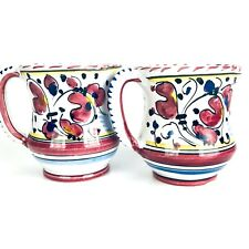 DERUTA CAMA POTTERY HAND PAINTED Abstract Floral SET OF 2 MUGS Made in Italy