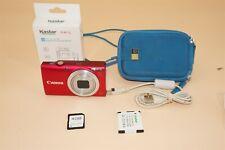Canon Powershot Red A4000 IS HD 16.0MP Digital Camera w 4gb Card, USB Cord, Case