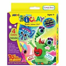 Amos iCLAY 4 Colour with Glow in the Dark Neon Green & Pink Craft Kit-AIR DRY