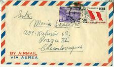 Peru Lima 8.V 1951 Airmail Cover Overseas to Czechoslovakia Flag UPU