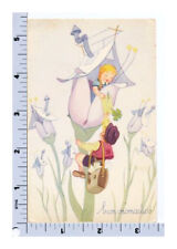 Vintage Birthday Postcard | Flower Fairy Mailman Delivers Card | MPM MMP