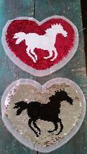 XL- Patch Einhorn Pferd mit Wendepailletten Herz pink Aufnäher Applikation