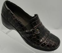 Clarks Bendables Alligator Pattern Patent Leather Slip On Shoes Womens Sz 6.5 M