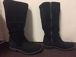 Timberland Size 6 Black Plain Calf Heavy Duty Cuban Heel Zip Leather Boots 17639