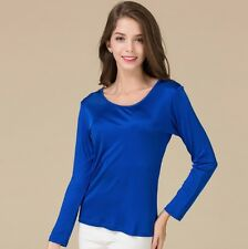 Women's 100% Pure Knit Silk Base Layer T-Shirts Long Sleeve Classical Fit top