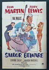 Vintage Poster SAILOR BEWARE (1952) Dean Martin Jerry Lewis 27x41 1-sheet rare