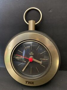 VINTAGE TWA HANGING BATTERY OPERATED CLOCK ACCHEN GERMANY