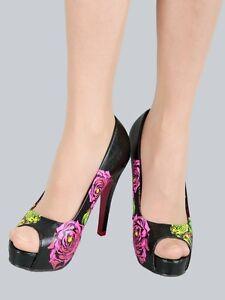 """Iron Fist Schuhe/High Heel/Peep Toe """"Sabertooth-Platform"""", schwarz-rot, Gr:38-40"""