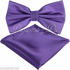 New Men Lavender Purple Butterfly Bow tie And Handkerchief Set Wedding Prom - AA