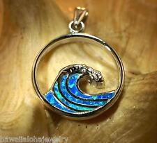 20mm Hawaiian Rhodium 925 Silver Inlaid Opal Ocean Wave Breaking Crest Pendant