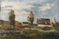 Herbstlandschaft mit Haus und Bäumen Windiger Tag Ölgemälde 40,5 x 59 cm