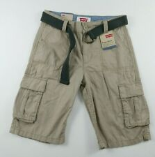 NEW Levis Boys Beige Relaxed Fit Belted Cargo Khaki Shorts Youth Size 14 Regular