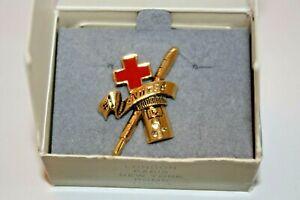 Avon Gold Tone #1 Nurse Pin Brooch Red Enamel Cross Thermometer RX Bottle