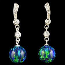 Alducchi Midnight Blue Lab Fire Opal / 10mm / - CZ .925 Sterling Silver earrings