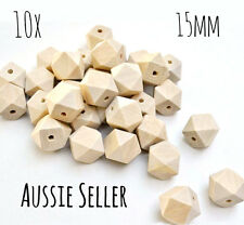 10x natural wood 15mm hexagon beads geometric sensory necklace teething raw