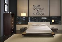 YOU WILL FOREVER BE MY ALWAYS VINYL WALL DECAL STICKER LETTERING QUOTE ROMANTIC