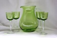 "VTG GREEN PITCHER 4 WINE/SHERRY/CORDIAL 7"" GRAPE ETCHED GREEN GLASSES CLEAR STEM"
