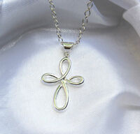 Solid 925 Sterling Silver Infinity Cross Pendant Necklace Chain Love Gift Box