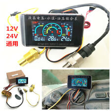 Car LCD 3 in 1 Gauge Water Temperature/Oil Pressure/Voltage Gauges With Sensors