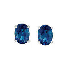 Natural London Blue Topaz 5X3 mm oval Stud Earring Sterling Silver Platinum over