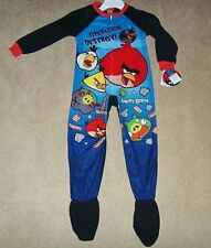 NEW Boys ANGRY BIRDS Footed PAJAMAS Blanket Sleeper Soft FLANNEL PJs Size 4, NWT