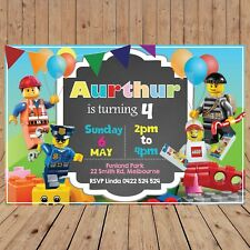 Personalised LEGO CITY Kids Party Invites Invitations DIGITAL - YOU PRINT