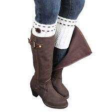 US STOCK Women Vintage Knitted Leg Warmers Fibers Short Socks Boot Cover Socks