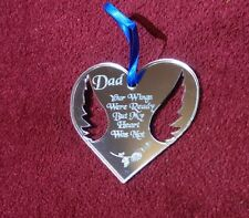 Miss You Dad Engraved Mirror Heart Acrylic Memorial Plaque Reminder Memory