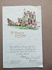 Vintage CHRISTMAS Card 1933 Art Deco Stagecoach Coaching Scene Horses Regency