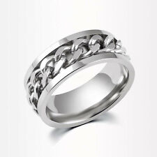 Fashion Mens Stainless Steel Rotatable Chain Band Ring Silver/Black/Gold Sz6-11
