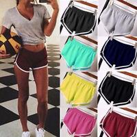 Women Casual Running Sports Shorts Yoga Gym Jogging Summer Elastic Shorts Pants~
