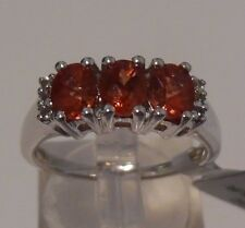 Size 7 Mongolian Red Andesine & White Topaz Sterling Silver Ring ATGW 0.97cts