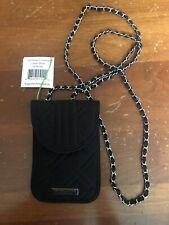 VERA BRADLEY CELL PHONE CROSSBODY Pouch w/Braided Chain Strap NWT Black