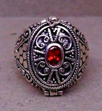 Handmade Sterling Silver Garnet Poison or Cremation Ring Size 6-7-8